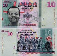 SWAZILAND       10 Emalangeni       P-New       6.9.2015 (2017)       UNC - Swaziland