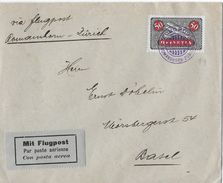 1924 FLUGPOST ROMANSHORN-BASEL → Brief Via Zürich   ►SBK-F9◄ - Poste Aérienne