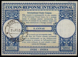 INDE / INDIA London Type XVIn  8 ANNAS  International Reply Coupon Reponse Antwortschein IRC IAS O BOMBAY 3.1.56 - Briefe