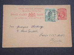 MALTE - Entier Postal + Complément Pour Paris En 1925 - L 10056 - Malte