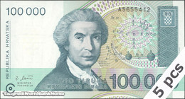 TWN -  CROATIA 27a - 100000 100.000 Hrvatskih Dinara 30.5.1993 DEALERS LOT X 5 UNC Prefix A5 - Croatia