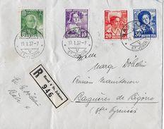 1936 PRO JUVENTUTE SATZBRIEF → R-Brief Von Basel St.Johann Nach Bagnères-de-Bigorre/F - Pro Juventute