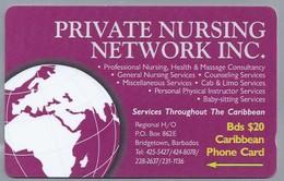 Telefoonkaart. CARIBBEAN  PHONE CARD. PRIVATE NURCING NETWORK INC. BARBADOS. 2 Scans - Antilles (Netherlands)