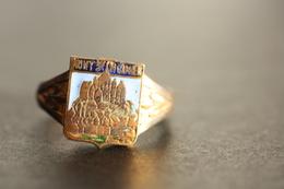 """Bague Vintage Chevalière Années 20 """"Armoiries Mont Saint Michel"""" 19.5mm - T61 - Normandie Ring - Bagues"""