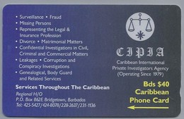 Telefoonkaart. CARIBBEAN  PHONE CARD. CIPIA. Caribbean International Private Investigators Agency. BARBADOS. 2 Scans - Antilles (Netherlands)