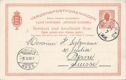 Danish West Indies, 1906 Postal Reply Card, Facit #BKd 10b, Sent To Switzerland, V.F. - Danish West Indies