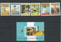 BÉNIN Scott 857-863, 864 Yvert  710AZ-710BE, BF29N (6+bloc) ** Cote 11,60$ 1996 - Bénin – Dahomey (1960-...)