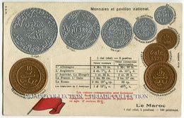 CARTOLINA CON RAPPRESENTAZIONE A RILIEVO MONETE PAVILLON NATIONAL MONNAIES LE MAROC RIAL - Monete (rappresentazioni)