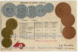 CARTOLINA CON RAPPRESENTAZIONE A RILIEVO MONETE MONNAIES ET PAVILLON NATIONAL LA TUNISIE FRANC - Monete (rappresentazioni)
