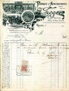 SEINE MARITIME.ROUEN.FABBRIQUE D'AMEUBLEMENTS.J.FROGER TAPISSIER 14 & 16 PLACE SAINT MARC.Succ.A DOUDEVILLE & NEUFCHATEL - Francia