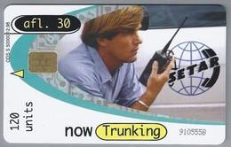Telefoonkaart. ARUBA PHONE CARD. 910555B. Now Trunking. 120 Units. SETAR. Afl. 30. - Antilles (Netherlands)