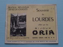 """Souvenir De Lourdes Offert Par Les BIJOUX """" ORIA """" Bijoux Religieux De N.D. De LOURDES ( 16 Pages - 13,5 X 10,5 Cm. ) ! - Publicités"""