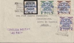 España 1938. Canarias. Carta De Las Palmas A Lerida. Censura. - Marcas De Censura Nacional