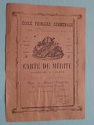 """Ecole Primaire Communale De St. Germain-des-Bois """" Carte De Mérite """" Anno 1890 ( Voir Photo ) ! - Diplômes & Bulletins Scolaires"""