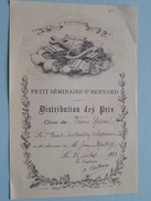 """Petit Séminaire ST. BERNARD """" Distribution Des Prix """" ( Jean Mathey ) Anno 1923 ( Voir Photo ) ! - Diplômes & Bulletins Scolaires"""