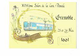 Cpm - 38 - GRENOBLE - XIV ème SALON CARTE POSTALE - 1991 - Dessin LE SCRIBE Iris Fleur Tramway - Style Mucha - Grenoble