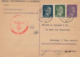 Entier Postal Luxembourg Occupation Luxemburg Pour Bordeaux Zone Occupée - Occupation
