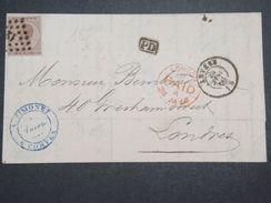 BELGIQUE - Lettre De Anvers Pour Londres En 1866 , Affranchissement Et Oblitérations Plaisants -  L 10089 - 1865-1866 Linksprofil