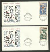 """MAURITANIE / Lot 2 Enveloppes FDC """" Spatule & Flamant Rose """" / NOUAKCHOTT 1961 - Flamingo"""