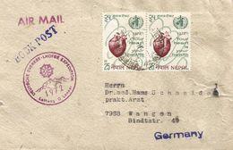 Nepal 1972 Kathmandu German Mount Everest Lhotse Expedition Mountains WHO Heart Cover - Nepal
