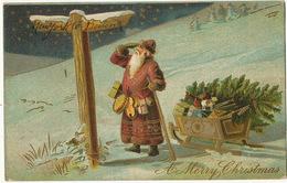 Santa Claus Pere Noel Gaufrée Robe Rouge  Luge Sapin Jouets - Santa Claus