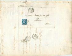 LETTRE  Napoléon 20c Bleu N14 De Grenoble  à Limoux 1862 2 Scans - Marcofilia (sobres)