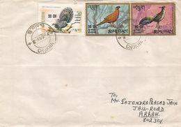 Bhutan 1972 Chukha Pheasant Overprints 20 CH On 2 NU Michel 401 On 7 NU Michel 402 On 50 CH Michel 404 Rare Cover - Bhutan