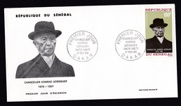 Senegal: FDC First Day Cover, 1968, 1 Stamp, German Politician Konrad Adenauer (traces Of Use) - Senegal (1960-...)