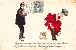 CPA Grivoise Femme Lady Bas Ange Cupidon Gentleman Prostituée Prostitution Illustrateur X. SAGER - Sager, Xavier