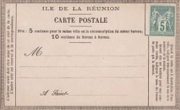 Reunion Carte Lettre De 5c Type Sage Vierge - Isola Di Rèunion (1852-1975)