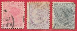 Nouvelle-Zélande N°60 1p Rose, N°61 2p Violet, N°64 4p Vert-bleu 1882 O - 1855-1907 Crown Colony