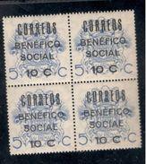 Spain1937:CIVIL WAR Las Palmas BENEFICO SOCIAL Mnh** Block Of 4 - Emisiones Nacionalistas