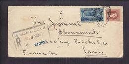 ENVELOPPE 1935 REPUBLIQUE DE CUBA Recommandé Certificado Habana 4 Vers Paris Timbre Service Aérien - Cuba