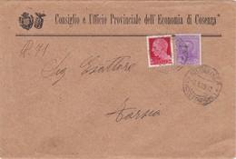 STORIA POSTALE - BUSTA VIAGGIATA - CONSIGLIO E UFFICIO PROVINCIALE DELL' ECONOMIA D COSENZA. -BOLLI  CENT. 50 , CENT. 20 - 1900-44 Vittorio Emanuele III