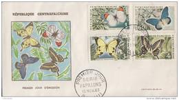 Enveloppe  FDC  1er  Jour   REPUBLIQUE   CENTRAFRICAINE   Papillons   1963 - Farfalle