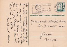 Postkarte Gelaufen Gestempelt  In Lausanne Nach Genève  22.IV.1959. Stpl. Ècole D`infirmières LA SOURCE - Entiers Postaux