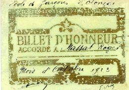 Billet D'honneur - Ecole De Olonzac (34) En 1923 - Diplômes & Bulletins Scolaires