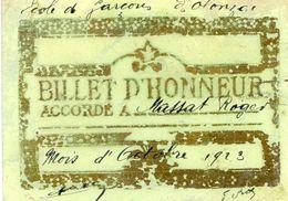 Billet D'honneur - Ecole De Olonzac (34) En 1923 - Diploma & School Reports