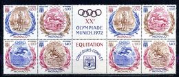 MONACO N° 890 A 893 XXeme OLYMPIADES DE MUNICH Avec VIGNETTES EQUITATION CONCOURS COMPLETNEUFS ** - Monaco