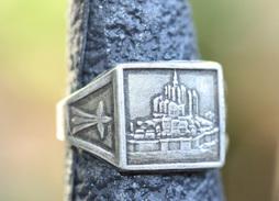 """Bague Ancienne Chevalière Années 20 """"Mont Saint Michel / Hermines Bretonnes"""" 18.5mm - T58 - Normandie Ring - Bagues"""