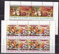 1992 San Marino Saint Marin MOSTRA MICOLOGICA, FUNGHI Dittico 4 Serie Di 4v. In Quartina MNH** MUSHROOMS SHEET - Funghi