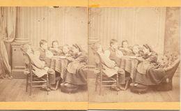 Stereofoto, Nanny Leest Voor Aan Vier Kinderen - Stereoscoop