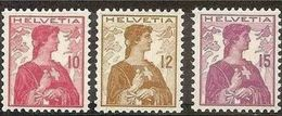 1909 Svizzera Switzerland HELVETIA BUSTO Serie Di 3v. (131/33), MNH** - Svizzera