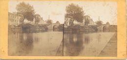 Stereofoto, Water/Gracht/Kanaal Met 2 Bruggen - Stereoscoop