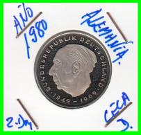 ALEMANIA - GERMANY -MONEDA DE 2.00 DM. THEODOR HEUSS - AÑO 1980-D CALIDAD PROOF S/C - [ 7] 1949-… : RFA - Rep. Fed. Alemana