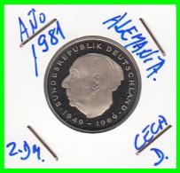 ALEMANIA - GERMANY -MONEDA DE 2.00 DM. THEODOR HEUSS - AÑO 1981-JD CALIDAD PROOF S/C - [ 7] 1949-… : RFA - Rep. Fed. Alemana