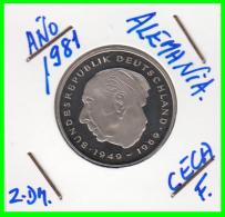 ALEMANIA - GERMANY -MONEDA DE 2.00 DM. THEODOR HEUSS - AÑO 1981-F CALIDAD PROOF S/C - [ 7] 1949-… : RFA - Rep. Fed. Alemana