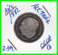 ALEMANIA - GERMANY -MONEDA DE 2.00 DM. THEODOR HEUSS - AÑO 1982-G  AÑO  CALIDAD PROOF S/C - [ 7] 1949-… : RFA - Rep. Fed. Alemana
