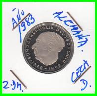 ALEMANIA - GERMANY -MONEDA DE 2.00 DM. THEODOR HEUSS - AÑO 1983-D CALIDAD PROOF S/C - [ 7] 1949-… : RFA - Rep. Fed. Alemana