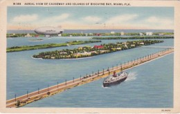 Florida Miami Aerial View Of Causeway and Islands Of Biscayne Ba